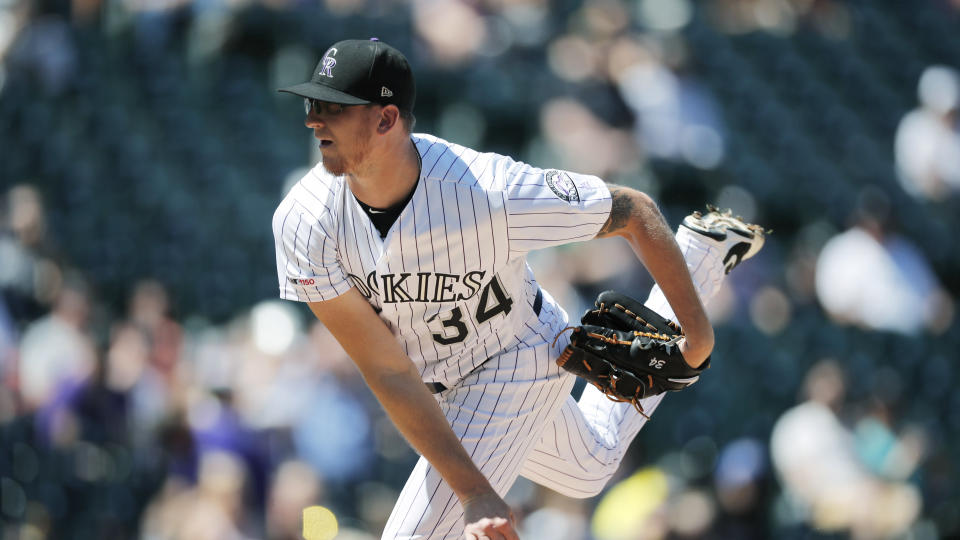 Colorado Rockies starting pitcher Jeff Hoffman works against the Pittsburgh Pirates in the first inning of a baseball game Sunday, Sept. 1, 2019, in Denver. (AP Photo/David Zalubowski)