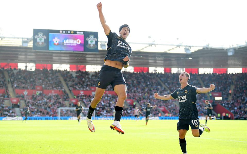 Raul Jimenez of Wolverhampton Wanderers celebrates after scoring their side's first goal during the Premier League match between Southampton and Wolverhampton Wanderers. - Alex Davidson/Getty Images
