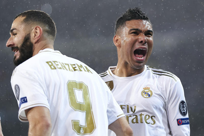 MADRID, SPAIN - NOVEMBER 26: Carlos Henrique Casemiro of Real Madrid celebrates a gol during the UEFA Champions League group A match between Real Madrid and Paris Saint-Germain at Bernabeu on November 26, 2019 in Madrid, Spain. (Photo by Quality Sport Images/Getty Images)