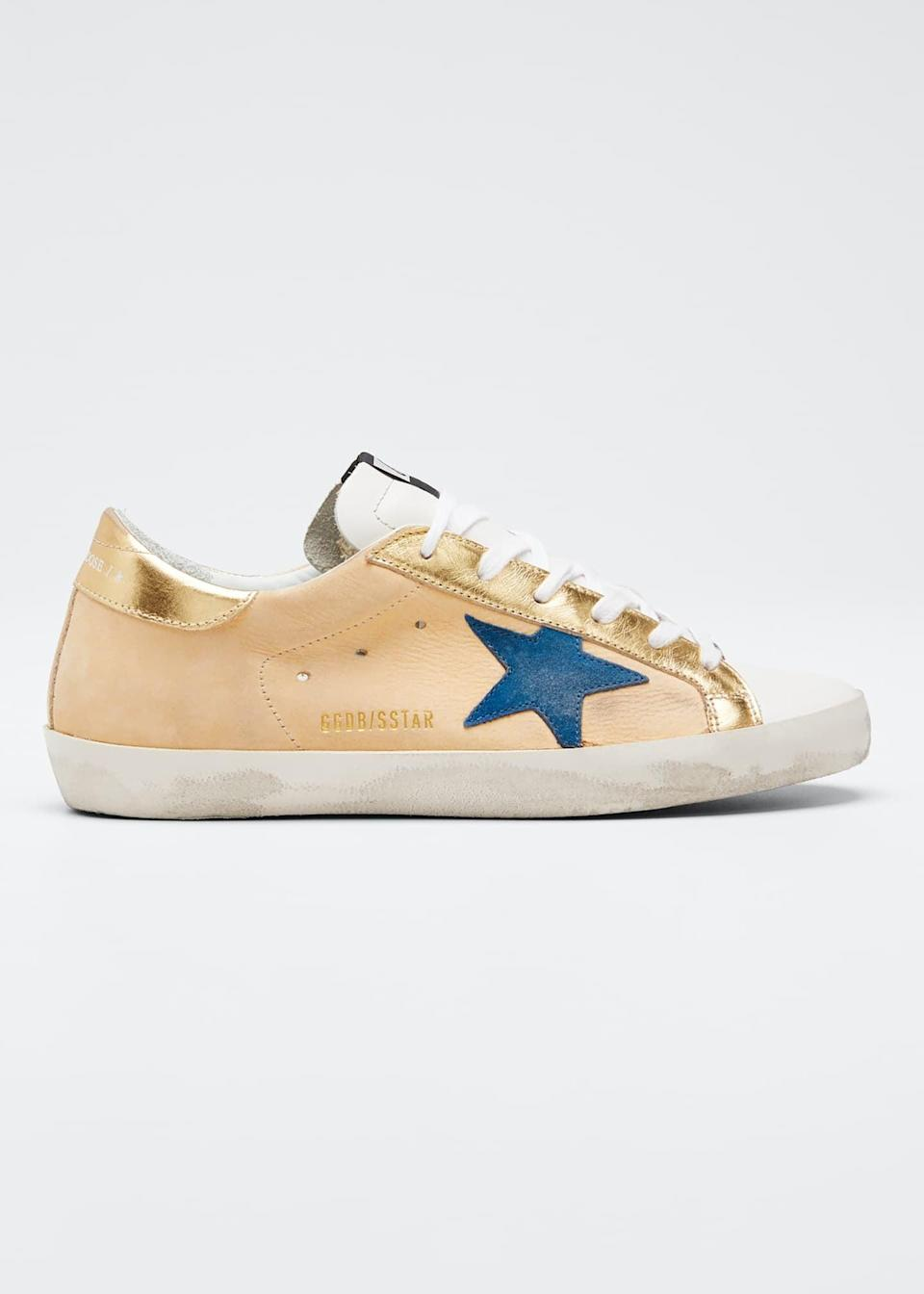 <p><span>Golden Goose Superstar Gold Leather Low-Top Sneakers</span> ($495)</p>