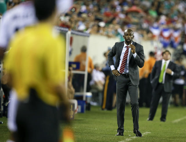 Costa Rica's head coach Paulo Wanchope watches his team play during the second half of a CONCACAF Gold Cup soccer match against Mexico Sunday, July 19, 2015, at MetLife stadium in East Rutherford, N.J. (AP Photo/Mel Evans)