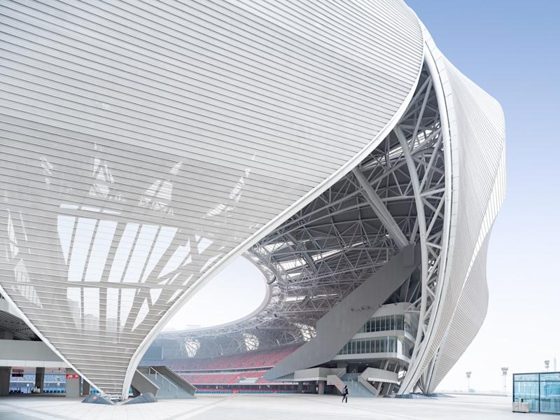 The stadium is as large as the Bird's Nest in Beijing.