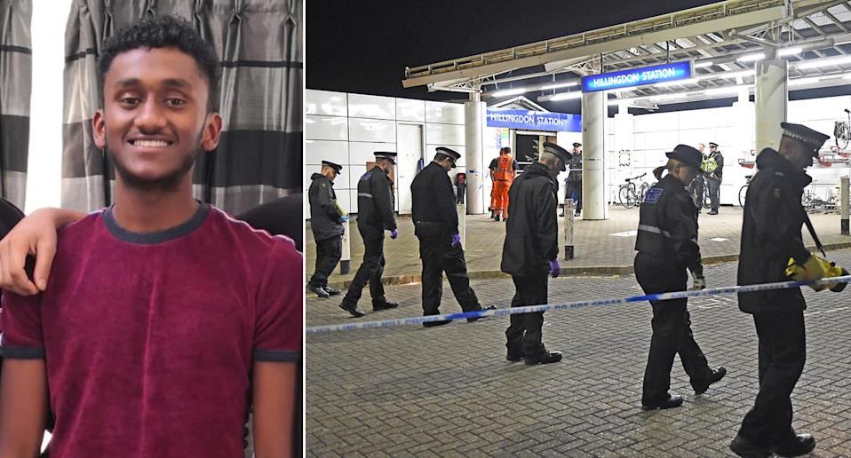Victim Tashan Daniel (l) and officers at the scene of the tragedy (PA)