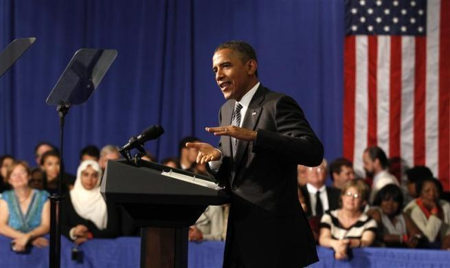 President Barack Obama speaks at a campaign fund raising event in Baltimore, Maryland June 12, 2012.