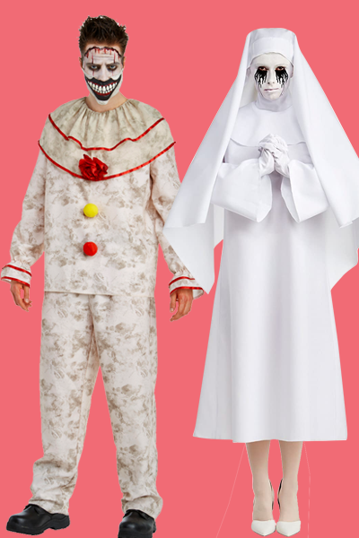 """<p>While you wait for <em>American Horror Story</em> to return, revisit the most frightening creatures of season's pasts, including Twisty and Weeping Nun.</p><p><a class=""""link rapid-noclick-resp"""" href=""""https://www.amazon.com/American-Horror-Story-Twisty-Costume/dp/B075GK74VC/?tag=syn-yahoo-20&ascsubtag=%5Bartid%7C10055.g.33300823%5Bsrc%7Cyahoo-us"""" rel=""""nofollow noopener"""" target=""""_blank"""" data-ylk=""""slk:SHOP TWISTY COSTUME"""">SHOP TWISTY COSTUME </a></p><p><a class=""""link rapid-noclick-resp"""" href=""""https://www.amazon.com/LF-Products-Pte-Ltd-Character/dp/B0753JTY4R/?th=1&psc=1&tag=syn-yahoo-20&ascsubtag=%5Bartid%7C10055.g.33300823%5Bsrc%7Cyahoo-us"""" rel=""""nofollow noopener"""" target=""""_blank"""" data-ylk=""""slk:SHOP WEEPING NUN COSTUME"""">SHOP WEEPING NUN COSTUME </a></p>"""