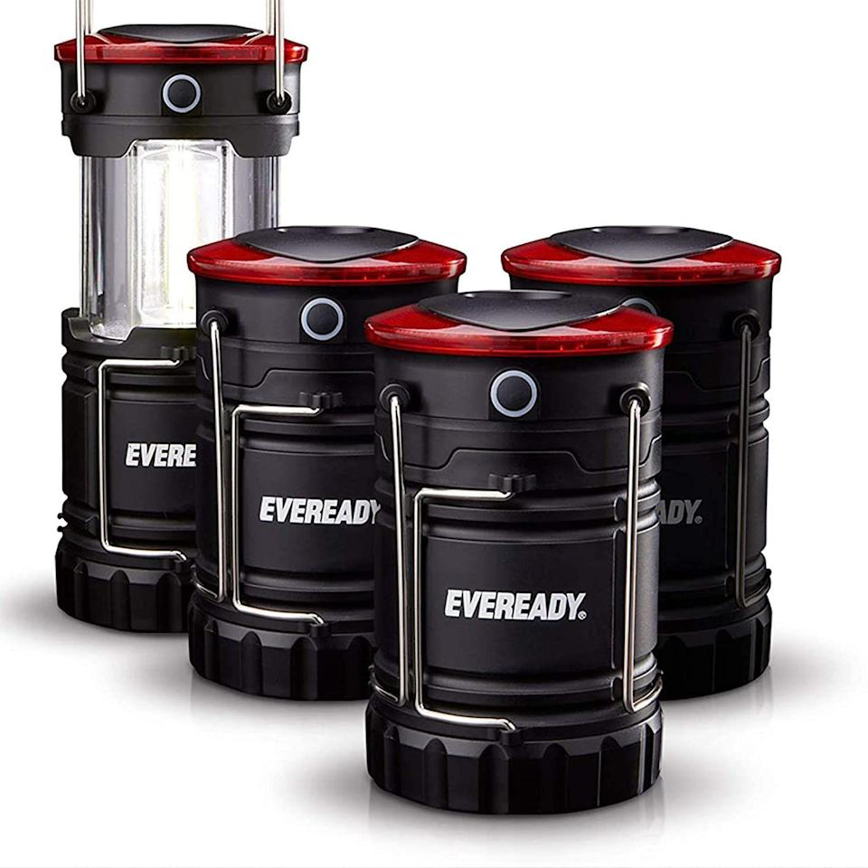 """<p><strong>Eveready</strong></p><p>amazon.com</p><p><strong>$28.05</strong></p><p><a href=""""https://www.amazon.com/dp/B088C15PVV?tag=syn-yahoo-20&ascsubtag=%5Bartid%7C10048.g.35202518%5Bsrc%7Cyahoo-us"""" rel=""""nofollow noopener"""" target=""""_blank"""" data-ylk=""""slk:Shop Now"""" class=""""link rapid-noclick-resp"""">Shop Now</a></p><p>This pack includes 2 collapsible battery-powered lanterns. They feature a magnet base and hanging hook, and will last 16 hours in lantern mode and 9 hours in flashlight mode.</p>"""