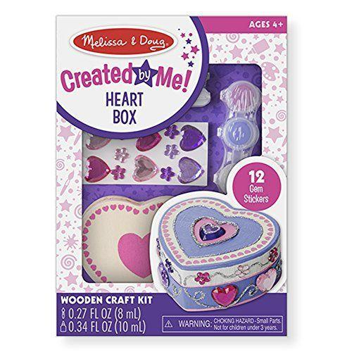 """<p><strong>Melissa & Doug</strong></p><p>amazon.com</p><p><strong>$7.99</strong></p><p><a href=""""https://www.amazon.com/dp/B00S6V0MFS?tag=syn-yahoo-20&ascsubtag=%5Bartid%7C10050.g.19618668%5Bsrc%7Cyahoo-us"""" rel=""""nofollow noopener"""" target=""""_blank"""" data-ylk=""""slk:Shop Now"""" class=""""link rapid-noclick-resp"""">Shop Now</a></p><p>She can keep this sweet keepsake on her vanity and use to store some of her favorite jewelry. A wooden heart box, """"gem stickers,"""" paint pots, glitter glue, and more are included in the craft kit. </p>"""
