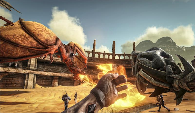 A Wyvern Attacks In ARK: Survival Evolved   Scorched Earth.