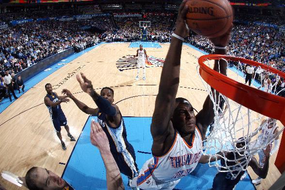 OKLAHOMA CITY, OK - FEBRUARY 11: Dion Waiters #23 of the Oklahoma City Thunder dunks against the Memphis Grizzlies on February 11, 2015 at Chesapeake Energy Arena in Oklahoma City, Oklahoma. (Photo by Layne Murdoch/NBAE via Getty Images)