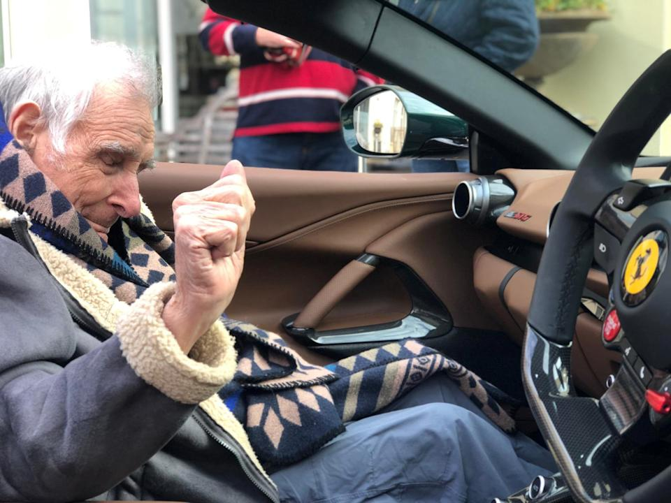 John, 91, enjoyed the Ferrari ride (swns)