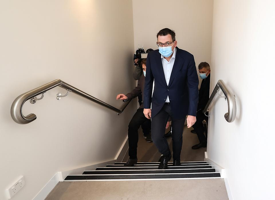 Victorian Premier Daniel Andrews during a visit to a social housing project  in Highton, near Geelong. Source: AAP