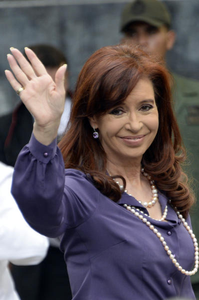 Argentine President Cristina Kirchner waves during the Mercosur Summit in Caracas, on July 29, 2014 (AFP Photo/Leo Ramirez)