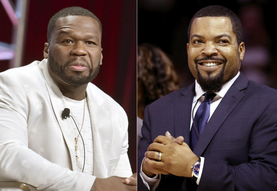 "FILE - This combination of 2019 and 2017 photos shows Curtis ""50 Cent"" Jackson in Beverly Hills, Calif., left, and BIG3 League founder Ice Cube in New York. On Friday, Oct. 23, 2020, The Associated Press reported on a manipulated image circulating online incorrectly depicting them wearing hats that show support for President Donald Trump. The photo was altered to add a ""Trump 2020"" message to the hats. In the original photo, both rappers are wearing baseball caps with sports logos. (AP Photo)"