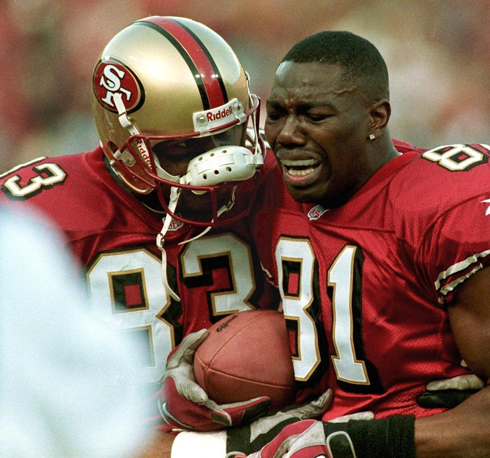 Terrell Owens always played with emotion, which he showed after his winning catch in the 1999 wildcard game. (Getty)