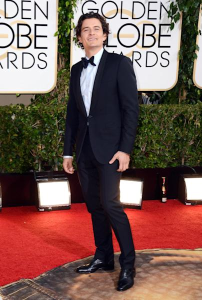 Orlando Bloom arrives at the 71st annual Golden Globe Awards at the Beverly Hilton Hotel on Sunday, Jan. 12, 2014, in Beverly Hills, Calif. (Photo by Jordan Strauss/Invision/AP)