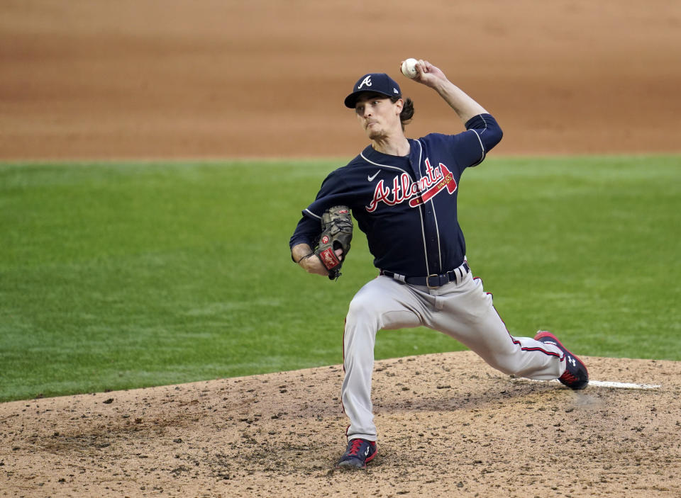ARLINGTON, TX - OCTOBER 17:  Max Fried #54 of the Atlanta Braves pitches during Game 6 of the NLCS between the Atlanta Braves and the Los Angeles Dodgers at Globe Life Field on Saturday, October 17, 2020 in Arlington, Texas. (Photo by Cooper Neill/MLB Photos via Getty Images)