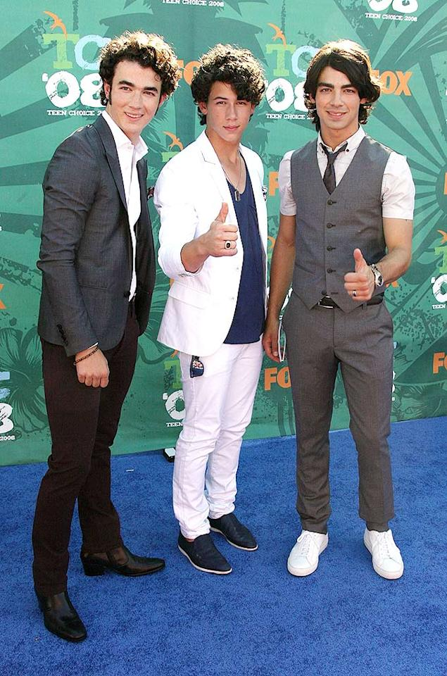 """Kevin, Nick, and Joe Jonas kept it simple for once and arrived at the 2008 Teen Choice Awards looking better than ever. Frazer Harrison/<a href=""""http://www.gettyimages.com/"""" target=""""new"""">GettyImages.com</a> - August 3, 2008"""