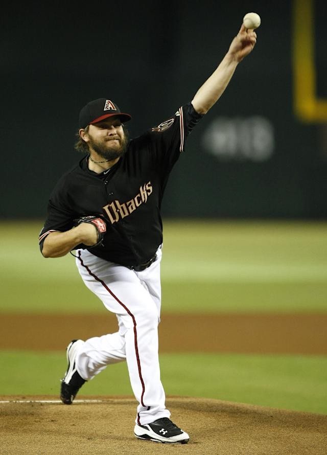 Arizona Diamondbacks starting pitcher Wade Miley throws in the first inning during a baseball game against the Colorado Rockies, Saturday, Sept. 14, 2013, in Phoenix. (AP Photo/Rick Scuteri)