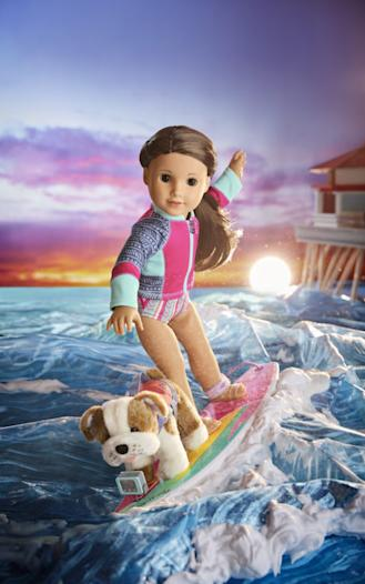American Girl doll Joss Kendrick on a surfboard
