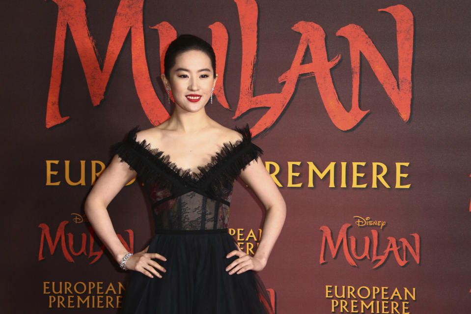 Actress Yifei Liu poses for photographers upon arrival at the European Premiere of 'Mulan' at a central London cinema, Thursday, Mar. 12, 2020. (Photo by Joel C Ryan/Invision/AP)