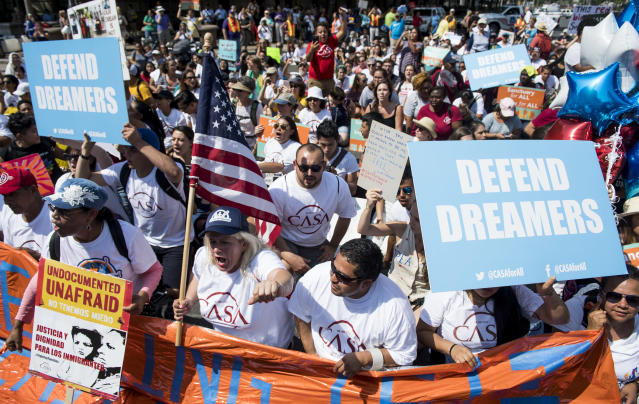 "<p>Immigration rights demonstrators prepare to march from the White House to the Trump Hotel and the Justice Department to oppose President Trump's decision to end the DACA program for ""dreamers"" on Tuesday, Sept. 5, 2017. (Photo: Bill Clark/CQ Roll Call/Getty Images) </p>"