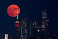 The full moon rises behind the Empire State Building in New York City