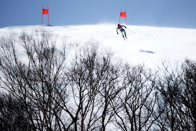 <p>Martin Cater of Slovenia competes during the Men's Alpine Combined Downhill on day four of the PyeongChang 2018 Winter Olympic Games at Jeongseon Alpine Centre on February 13, 2018 in Pyeongchang-gun, South Korea. (Photo by Ezra Shaw/Getty Images) </p>