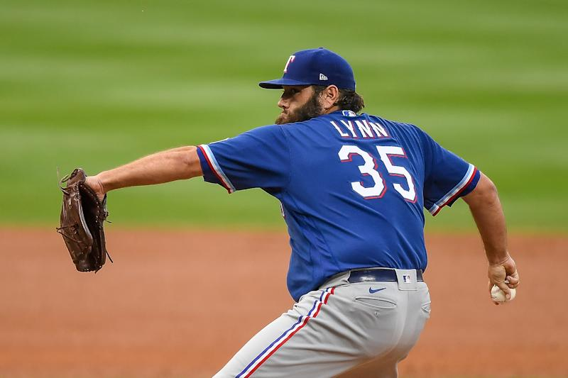 DENVER, CO - AUGUST 14: Lance Lynn #35 of the Texas Rangers pitches against the Colorado Rockies at Coors Field on August 14, 2020 in Denver, Colorado. (Photo by Dustin Bradford/Getty Images)