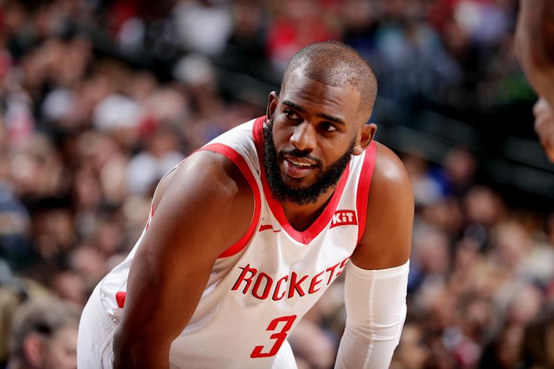 DALLAS, TX - MARCH 10: Chris Paul #3 of the Houston Rockets smiles against the Dallas Mavericks on March 10, 2019 at the American Airlines Center in Dallas, Texas. NOTE TO USER: User expressly acknowledges and agrees that, by downloading and or using this photograph, User is consenting to the terms and conditions of the Getty Images License Agreement. Mandatory Copyright Notice: Copyright 2019 NBAE (Photo by Glenn James/NBAE via Getty Images)
