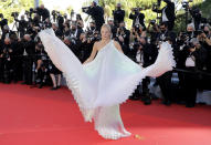 Leonie Hanne poses for photographers upon arrival at the premiere of the film 'Stillwater' at the 74th international film festival, Cannes, southern France, Thursday, July 8, 2021. (Photo by Vianney Le Caer/Invision/AP)
