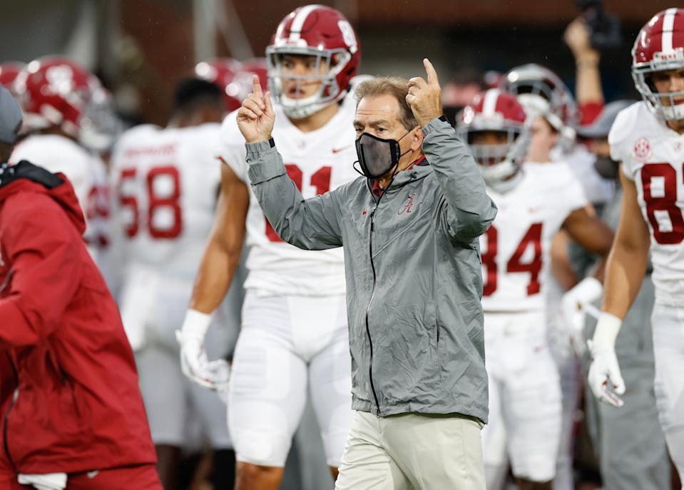 OXFORD, MS - OCTOBER 10: Head coach Nick Saban of the Alabama Crimson Tide signals a touchdown against the Ole Miss Rebels at Vaught Hemingway Stadium on October 10, 2020 in Oxford, Mississippi. (Photo by Kent Gidley/Collegiate Images/Getty Images)