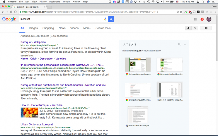 You also get Recall results right in your Web searches.