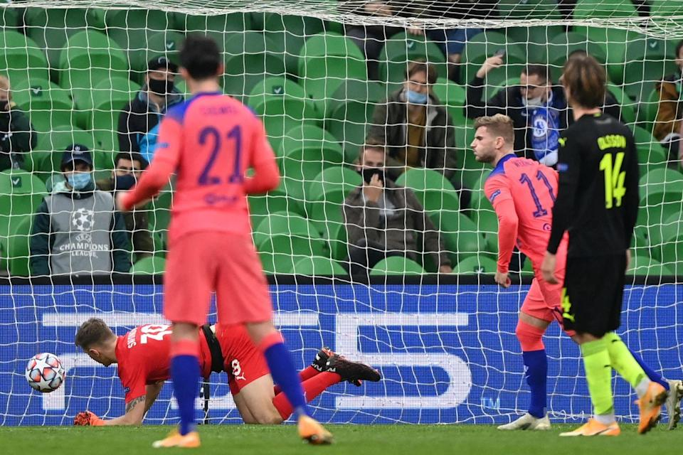 However, team-mate Timo Werner had no trouble in netting from the spot later in the 4-0 win in Russia (AFP via Getty Images)