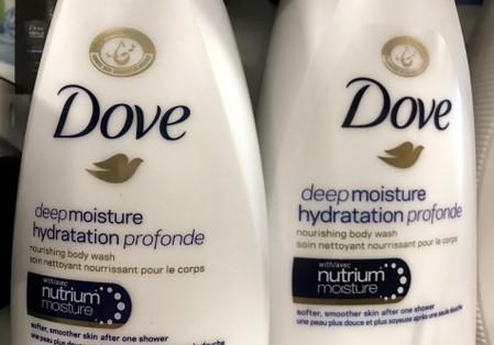 Two bottles of Dove's Deep Moisture body wash are displayed in Toronto