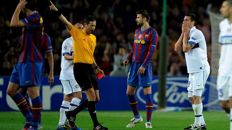 Thiago Motta red card Barcelona Inter 28042010 UCL