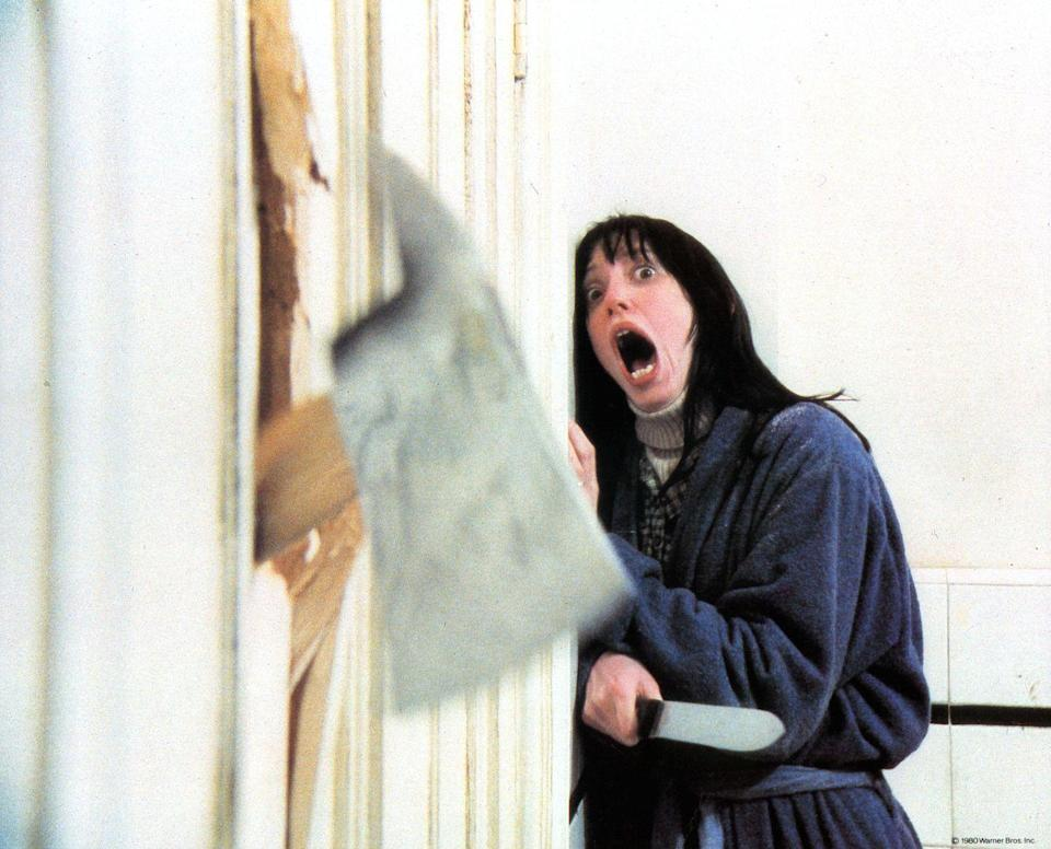 """<p>Speaking of repeated takes, the scene in which Jack Torrance slams an ax through a door and declares his famous line was filmed over the course of three days and involved the destruction of <a href=""""https://www.imdb.com/title/tt0081505/trivia"""" rel=""""nofollow noopener"""" target=""""_blank"""" data-ylk=""""slk:60 doors before they got it all right."""" class=""""link rapid-noclick-resp"""">60 doors before they got it all right.</a></p>"""