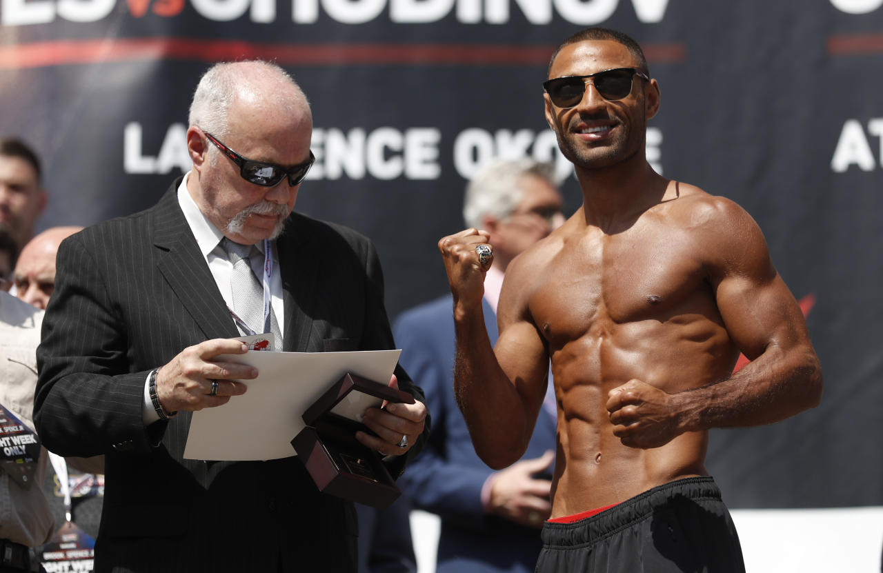 Britain Boxing - Kell Brook & Errol Spence Weigh-In - Sheffield City Hall - 26/5/17 Kell Brook during the weigh-in Action Images via Reuters / Carl Recine Livepic