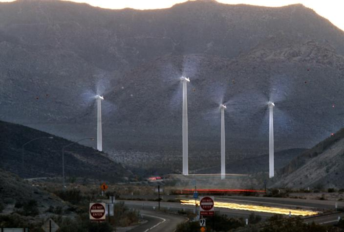 """Wind turbines in the Ocotillo Wind project spin in the desert along Interstate 8 near Ocotillo, Calif., in Imperial County. The electricity they generate is wheeled to San Diego County through the Sunrise Powerlink. <span class=""""copyright"""">(Don Bartletti / Los Angeles Times)</span>"""