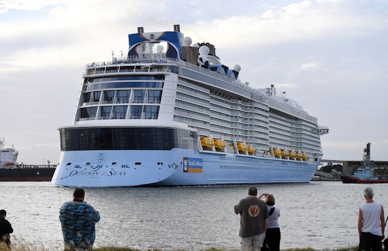 Ovation of the Seas passengers are believed to be among those missing in New Zealand. The cruise ship is pictured here at the Port of Brisbane in 2017.