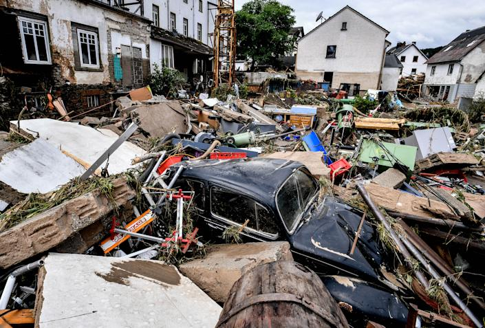 Debris from houses and cars after flooding in Schuld, Germany, on Thursday.