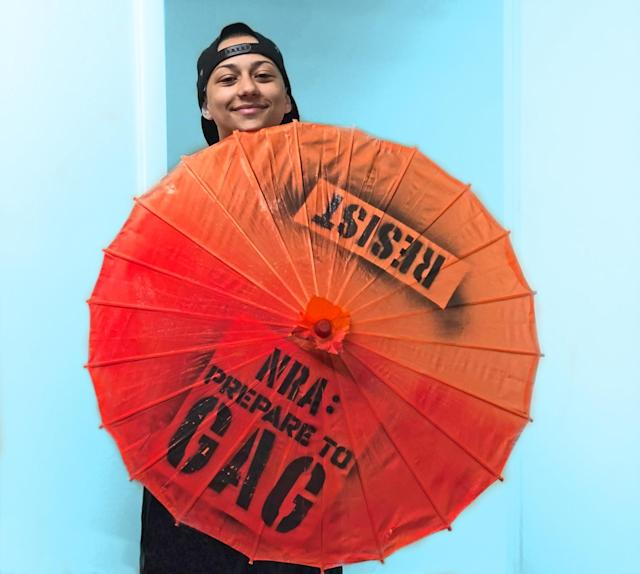 González with a parasol she was gifted by Gays Against Guns (GAG). (Photo: Courtesy of publicist for González)