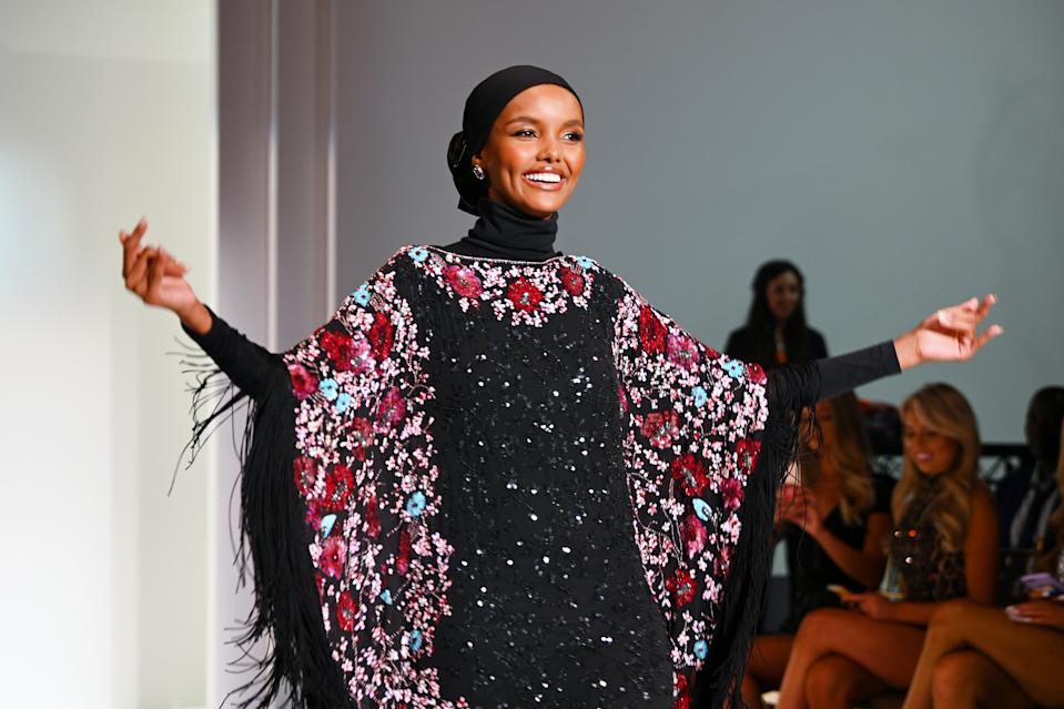 NEW YORK, NEW YORK - SEPTEMBER 06: Model Halima Aden walks the runway during the Sherri Hill NYFW Spring 2020 runway show at Cipriani 42nd Street on September 06, 2019 in New York City. (Photo by Dave Kotinsky/Getty Images for Sherri Hill )