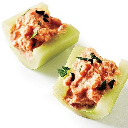 """<p>You can make the salmon mixture up to a day in advance. Sprinkle with chopped parsley for a more finished look. </p><p><a href=""""https://www.myrecipes.com/recipe/smoked-salmon-cucumber-boat"""">Smoked Salmon in Cucumber Boats Recipe</a></p>"""