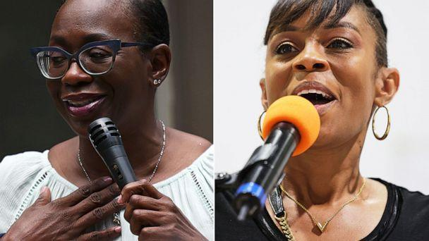 PHOTO: Nina Turner speaks to a crowd of volunteers before a Get Out the Vote canvassing event, July 30, 2021. Shontel Brown speaks during Get Out the Vote campaign event at Mt Zion Fellowship, July 31, 2021, in Cleveland.  (Getty Images)