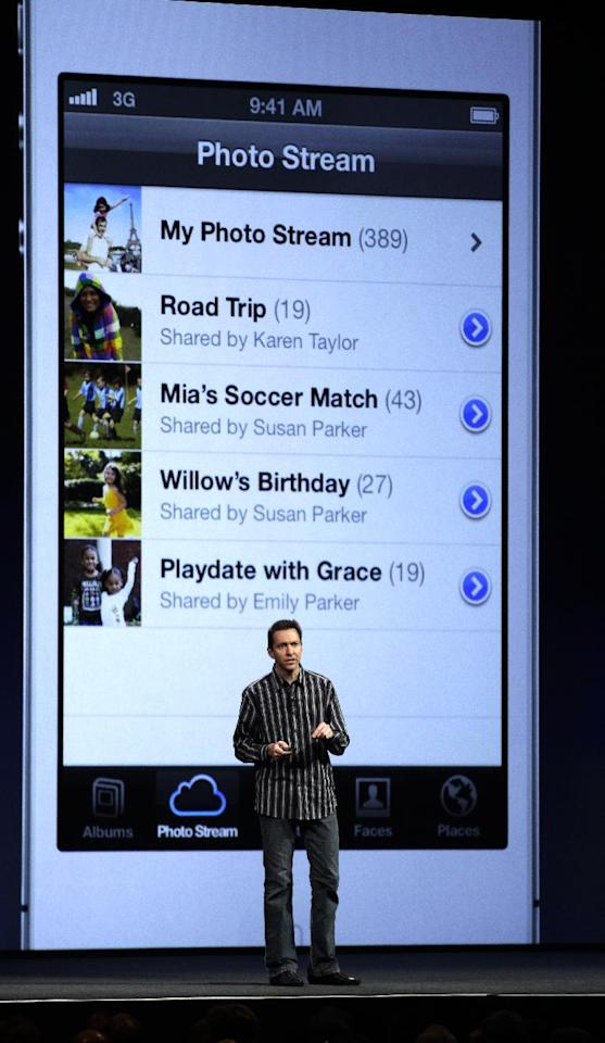 Scott Forstall, Apple's senior vice president of iOS Software, talks about features for the new iOS 6 software, including allowing a user to share photo streams with friends, during the Apple Developers Conference in San Francisco, Monday, June 11, 2012. New iPhone and Mac software and updated Mac computers were among the highlights Monday at Apple Inc.'s annual conference for software developers. (AP Photo/Marcio Jose Sanchez)