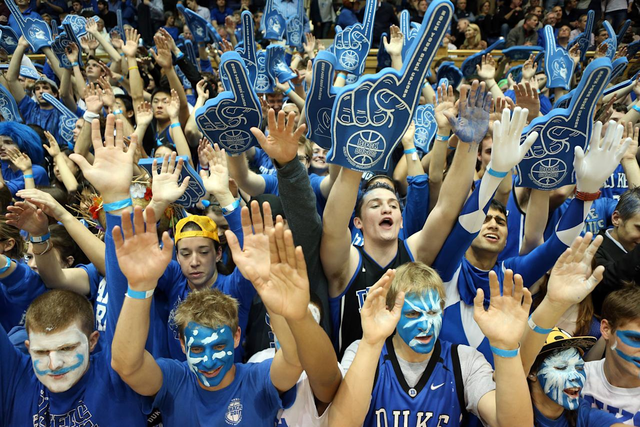 DURHAM, NC - FEBRUARY 07: Fans of the Duke Blue Devils prepare for their game against the North Carolina State Wolfpack at Cameron Indoor Stadium on February 7, 2013 in Durham, North Carolina. (Photo by Streeter Lecka/Getty Images)