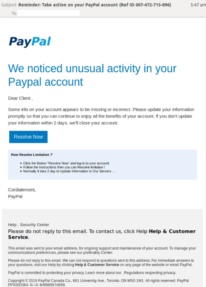 PayPal scam hitting inboxes. Source: MailGuard