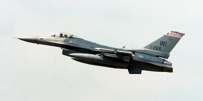A Wisconsin Air National Guard F-16 Fighting Falcon fighter aircraft