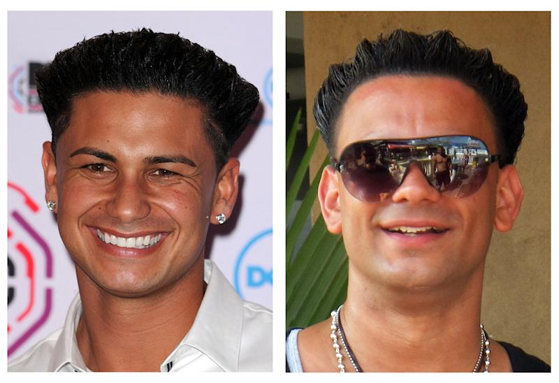 "This photo combo shows TV personality Paul ""DJ Pauly D"" DelVecchio, left, and New Yorker Michael Maldonado who is often mistaken for DelVecchio. (AP Photo/Dave Fisher, Wayne Parry)"
