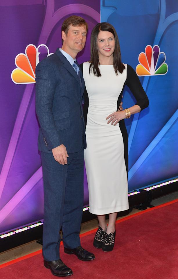 NEW YORK, NY - MAY 13:  Actors Peter Krause and Lauren Graham attend 2013 NBC Upfront Presentation Red Carpet Event at Radio City Music Hall on May 13, 2013 in New York City.  (Photo by Slaven Vlasic/Getty Images)